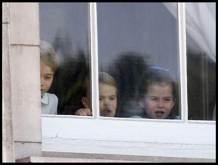 V.l.n.r.: de Britse prins George, prins Louis en prinses Charlotte.
