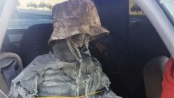 Amerikaan van carpoolstrook gehaald met nepskelet in voorstoel