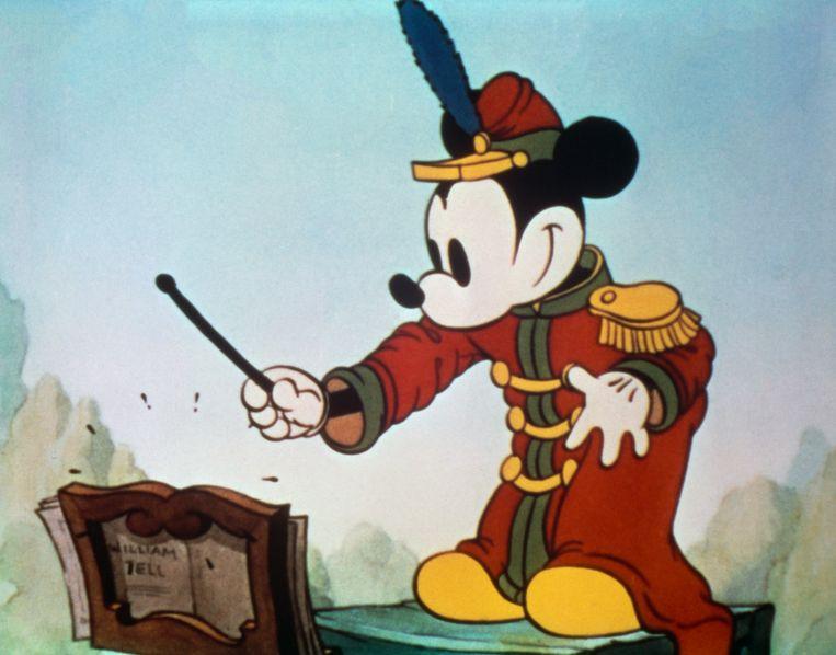 Mickey in 'The Band Concert', de eerste Mickey-cartoon in Technicolor.