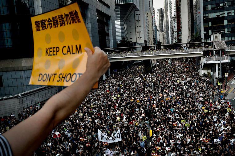 Een demonstrant houdt maandag een pamflet omhoog, bij het massale protest tegen de regering. Beeld AP