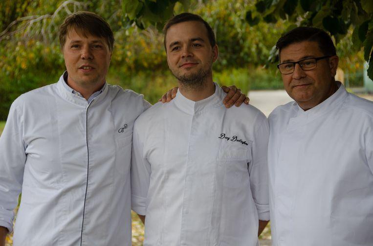 De chefs van De Baronie, Bistro Julien en Den Oker naast mekaar.