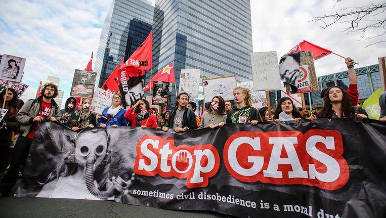 Een protestactie tegen de GAS-boetes in oktober in Brussel.