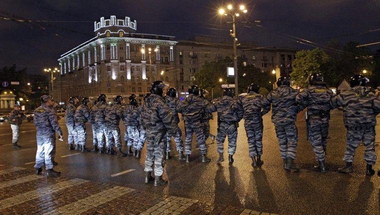 Politie tijdens de demonstraties in Moskou. Beeld ap