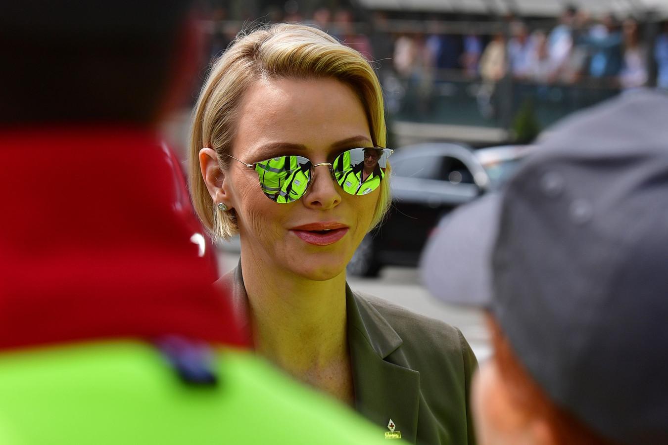 Charlene of Monaco aux essais du Grand Prix le 25 mai à Monte Carlo