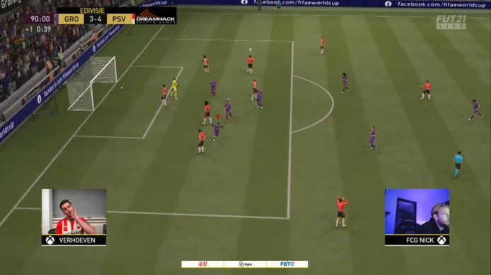 Spektakel in de eDivisie tussen FC Groningen en PSV. Na een 4-3 winst voor PSV in de eerste wedstrijd won Bob van Uden voor Groningen het tweede duel met 3-1 waarmee de winst over de streep werd getrokken.