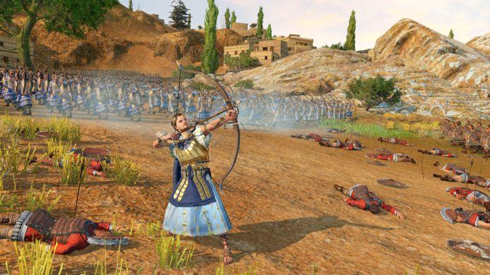 Trojaanse held Paris voert zijn troepen aan.