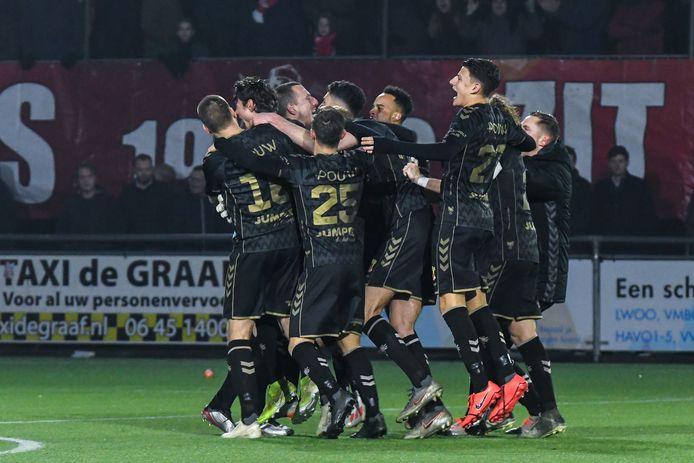 Het feestje van Go Ahead Eagles na de plaatsing voor de kwartfinale tegen FC Utrecht