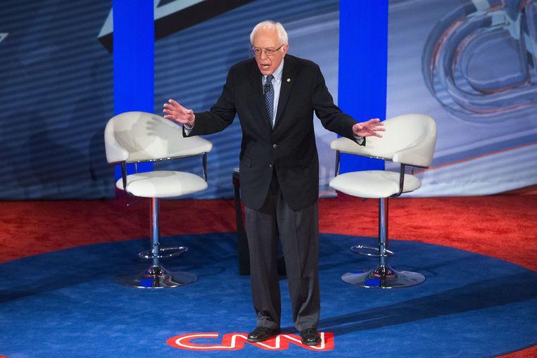 Bernie Sanders beantwoordt donderdag vragen in de townhall-discussie georganiseerd door CNN. Beeld null