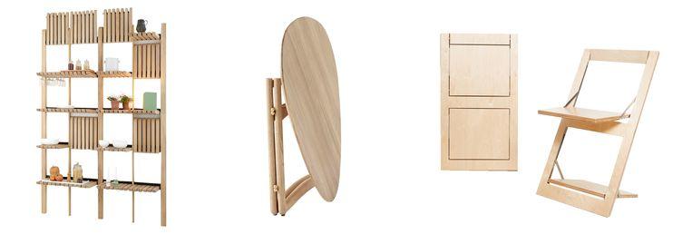 Van links af: Klapkast, -tafel, -stoel. Beeld