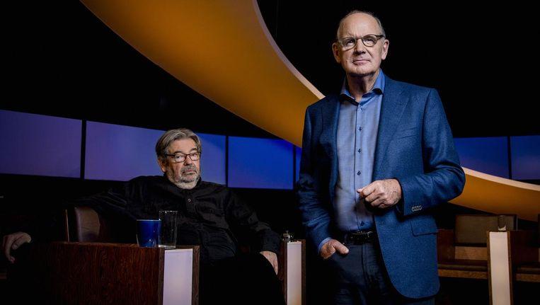 Jurylid Maarten van Rossem en presentator Philip Freriks van De Slimste Mens. Beeld KRO-NCRV