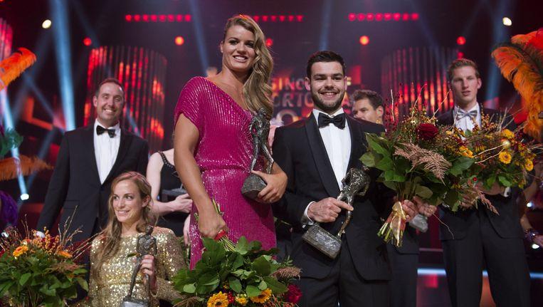 Dafne Schippers en Sjinkie Knegt namen in de RAI de prijzen in ontvangst Beeld anp