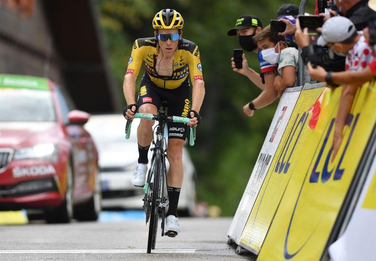 Steven Kruijswijk (Jumbo-Visma) tijdens de Dauphiné dit jaar. Beeld EPA