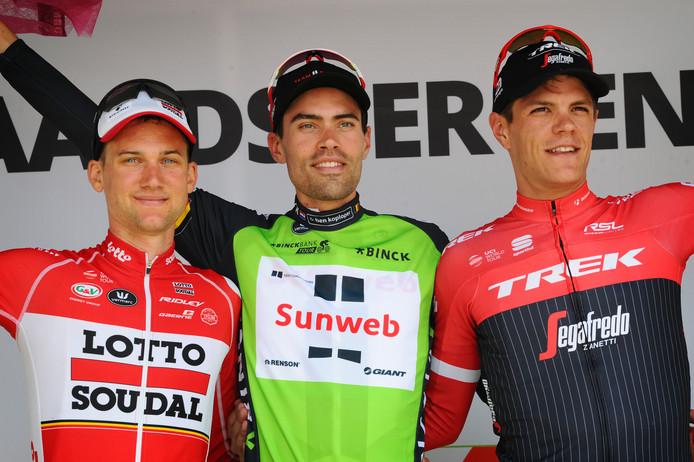 Tim WELLENS Tom DUMOULIN en Jasper STUYVEN op het podium tijdens de Binckbank Tour.