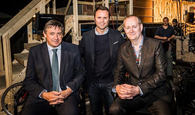 Jan Jambon met Christophe Toulemonde (Belga Productions) en Glenn Roggeman (CEO AED group).