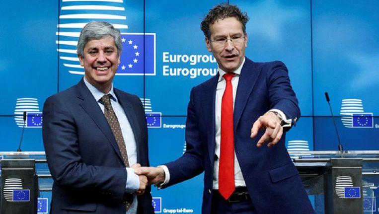 Mario Centeno, de nieuwe president van de Eurogroep, samen met Jeroen Dijsselbloem Beeld reuters