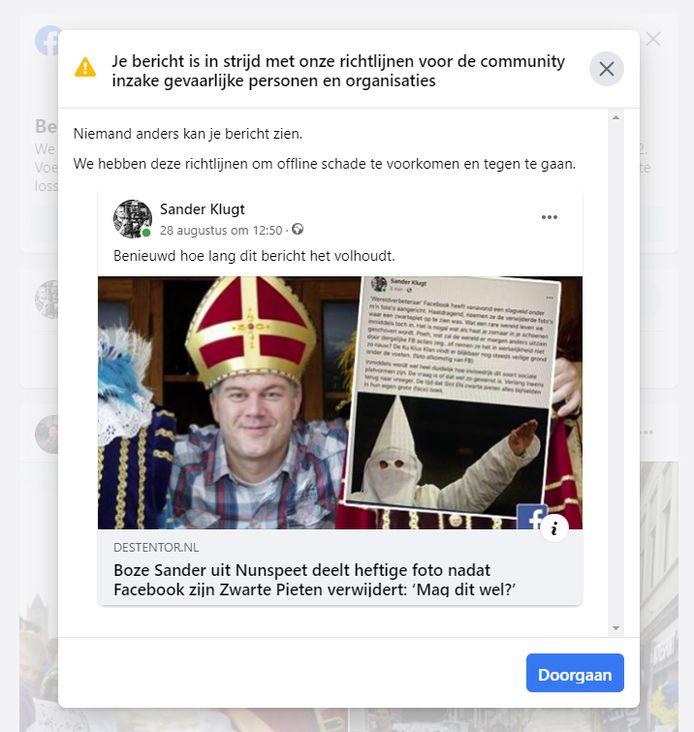 Ook de post met de link naar het Stentor-artikel is inmiddels door Facebook verwijderd.