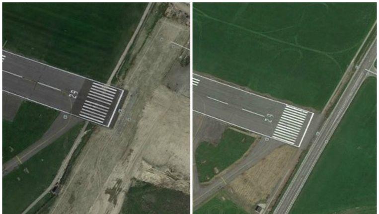 Links: de situatie in juni 2015 op Google Earth. Rechts: de startbaan in 2013. Momeneel wordt de R11, de weg langs de luchthaven tussen Mortsel en Borsbeek, ondertunneld.