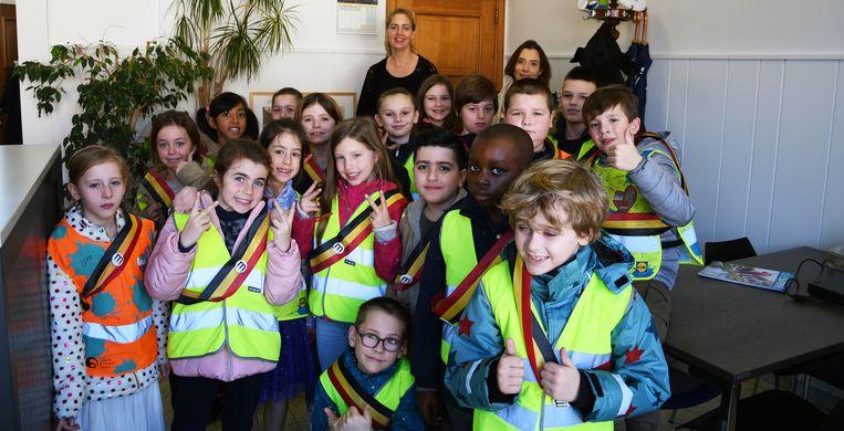 De klas van juf Wendy Hubrecht op bezoek in het gemeentehuis