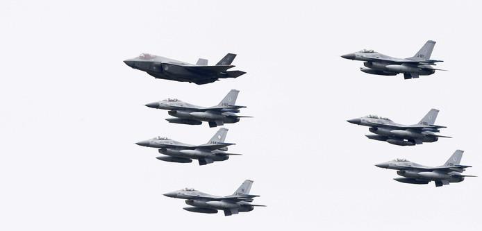 F35's in 'actie' tijdens de Luchtmachtdagen in Leeuwarden 2016.