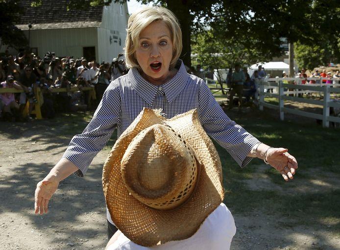 Hillary Clinton op campagne in Iowa afgelopen weekend.