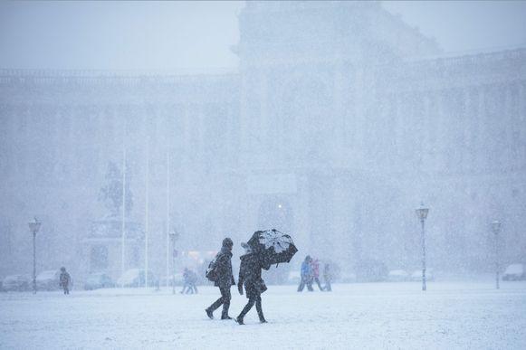 Ook in de hoofdstad Wenen sneeuwt het.