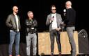 Boonen, Degryse en Albert op het podium bij Michel Wuyts voor aanvang van de koers.