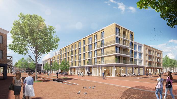 Een impressie van de nieuwbouw van het project Turfstraat in Arnhem door projectontwikkelaar Stadswaarde, gezien op de hoek Turfstraat-Nieuwstraat.