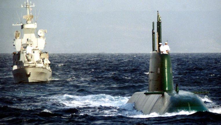 Een van de vijf Dolfijn-onderzeeboten van de Israëlische marine. Beeld AFP