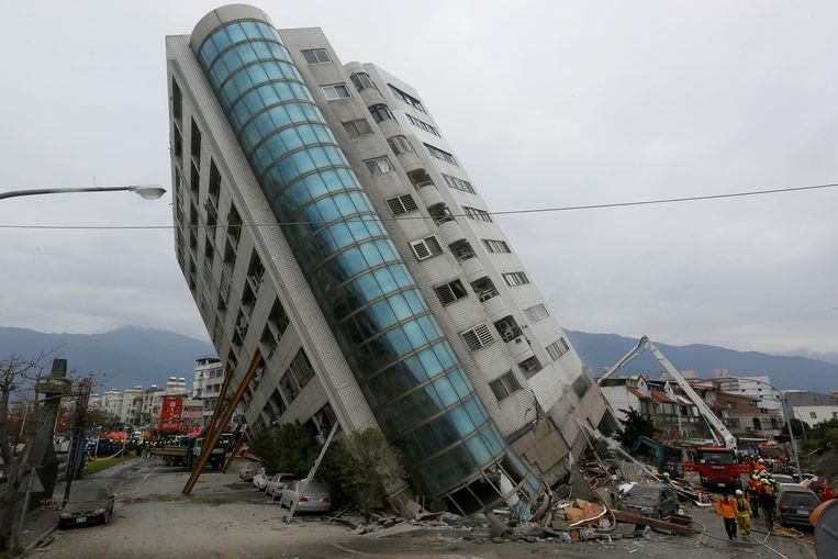 Schade na een aardbeving in Taiwan op 7 februari 2018.