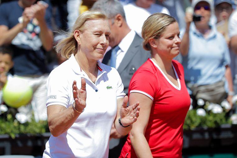 Martina Navratilova (l) hier met Kim Clijsters, die de tennislegende altijd bewonderd heeft.