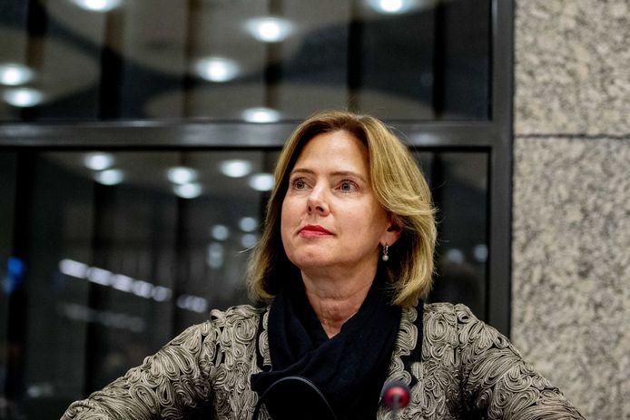 Minister Van Nieuwenhuizen (Infrastructuur en Waterstaat) tijdens een vergadering over de Stint