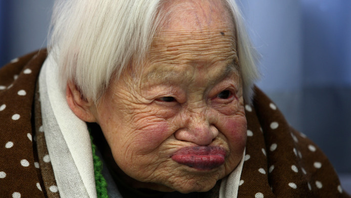 Misao Okawa, de oudste vrouw ter wereld. De Japanse is 115.