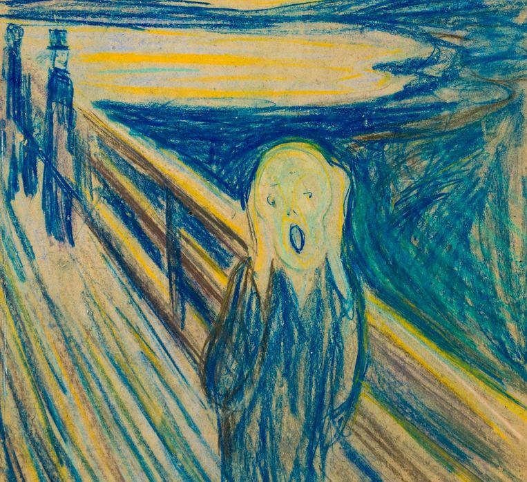 'De schreeuw' van de Noorse schilder Edvard Munch drukt het geestelijke leed en de emotionele kwelling uit die de schilder tijdens bepaalde perioden in zijn leven heeft gevoeld. Beeld Munchmuseum Oslo