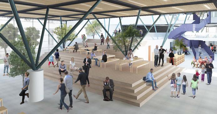 Ontmoetingsplek in de nieuwe centrale hal van Nieuwe Veste