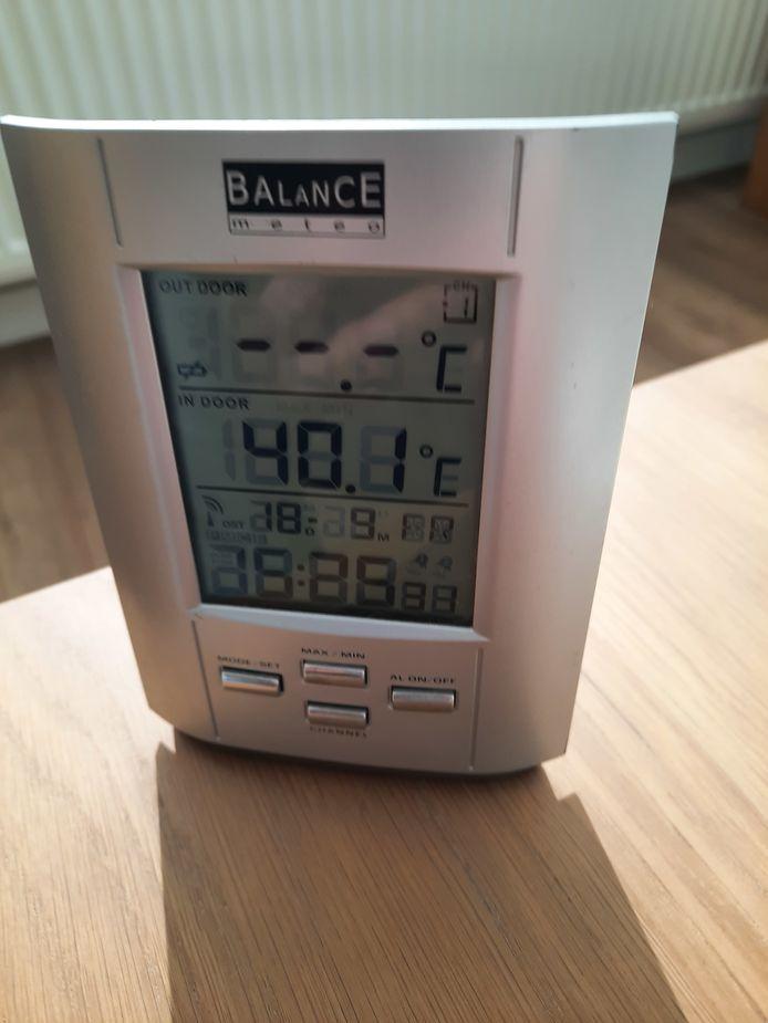 Een thermometer in één van de woningen aan het Paletplein.