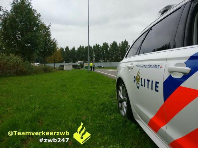 Politie bij de 'snelwegloper'.