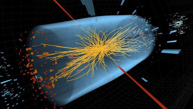 Een graphic laat sporen zien van twee hoge-energie-deeltjes. Beeld AFP
