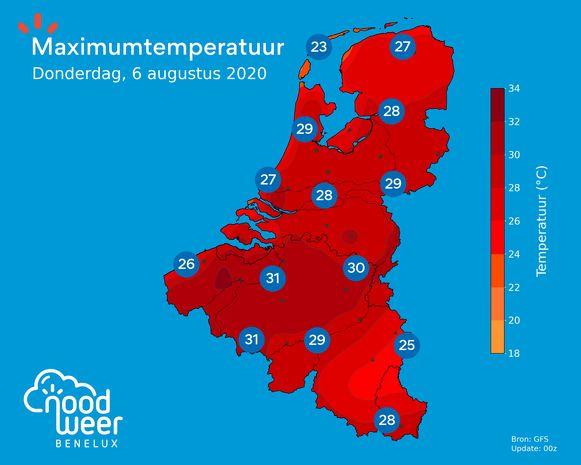 De temperaturen schieten vanaf woensdag de hoogte in.