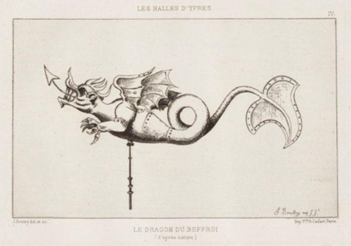 Een schets van Margriet door Julien Boutry in het werk Ypriana.