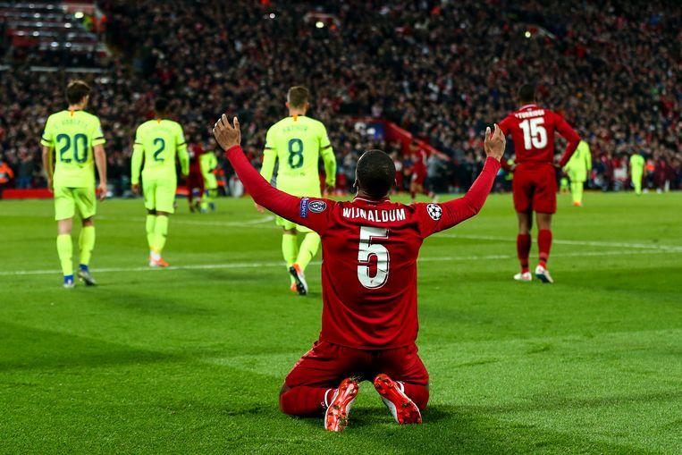 Hoezo Brits succes? Liverpool-speler Georginio Wijnaldum, gekscherend omgedoopt tot 'George Wyndham', scoorde twee keer tegen Barcelona. De Belg Divock Origi ('Derek O' Reilly') tekende voor de andere twee doelpunten. Beeld Getty Images
