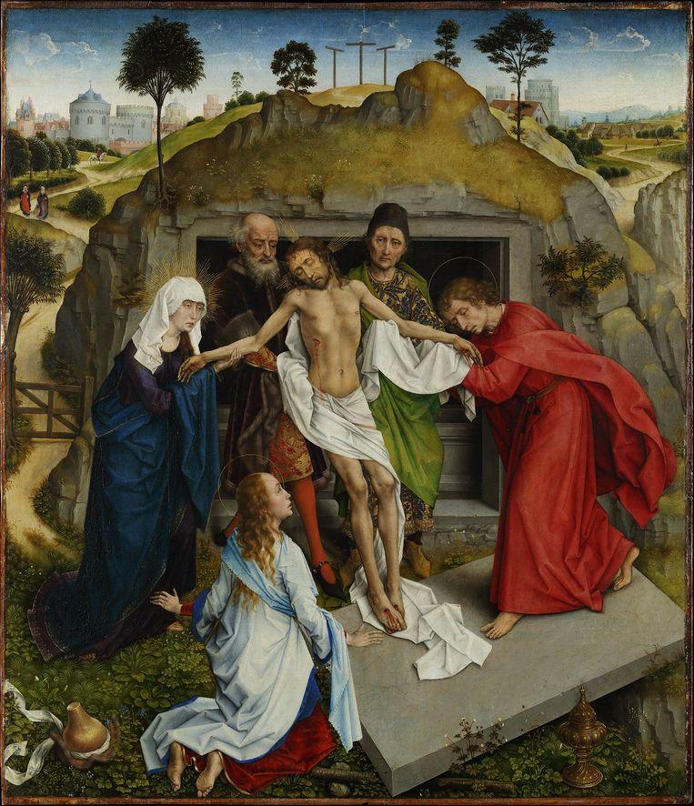 Rogier van der Weyden, De Graflegging van Christus, c.1460. Paneel, 94 x 110,7 cm. Beeld Galleria degli Uffizi, Florence.