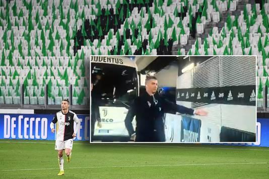 Cristiano Ronaldo in een leeg stadion. Voor het duel deed hij high-fives met 'onzichtbare fans' (inzetje).