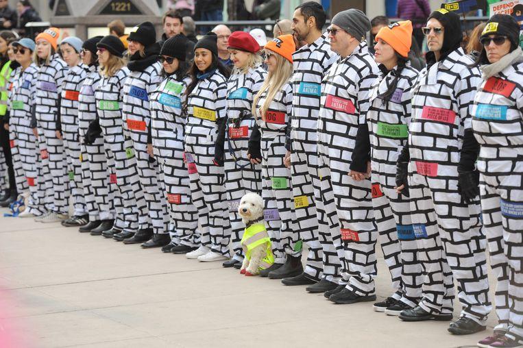 De demonstratie in New York op 20 januari vorig jaar. Beeld Hollandse Hoogte / Polaris Images