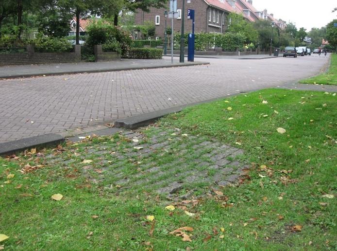 Een verlaagde stoepband zorgt ervoor dat water vanaf de straat de berm in kan lopen.