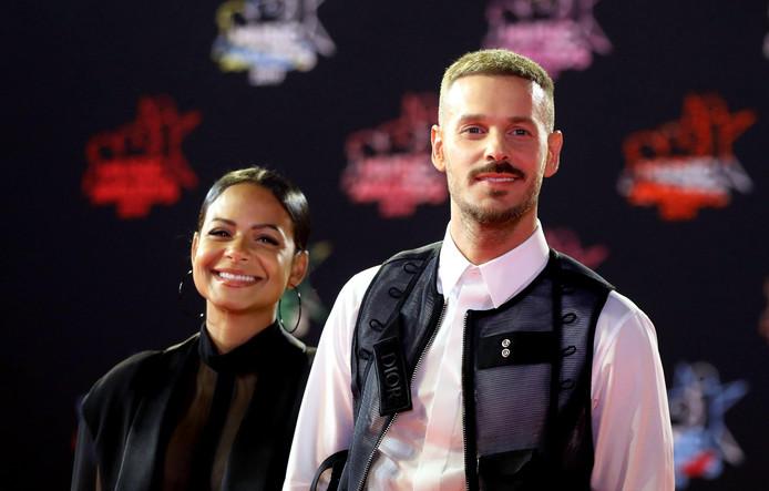 Matt Pokora et sa compagne Christina Milian, qui attend leur premier enfant à deux.