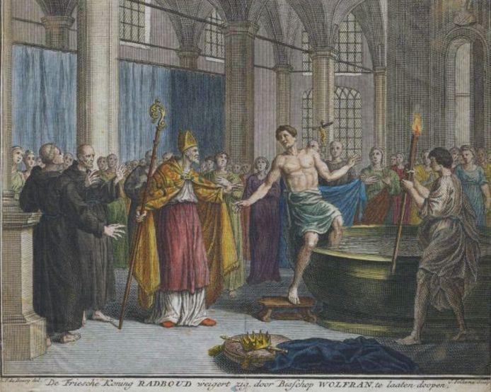 Schilderij van koning Radboud die weigert zich tot het christendom te bekeren.