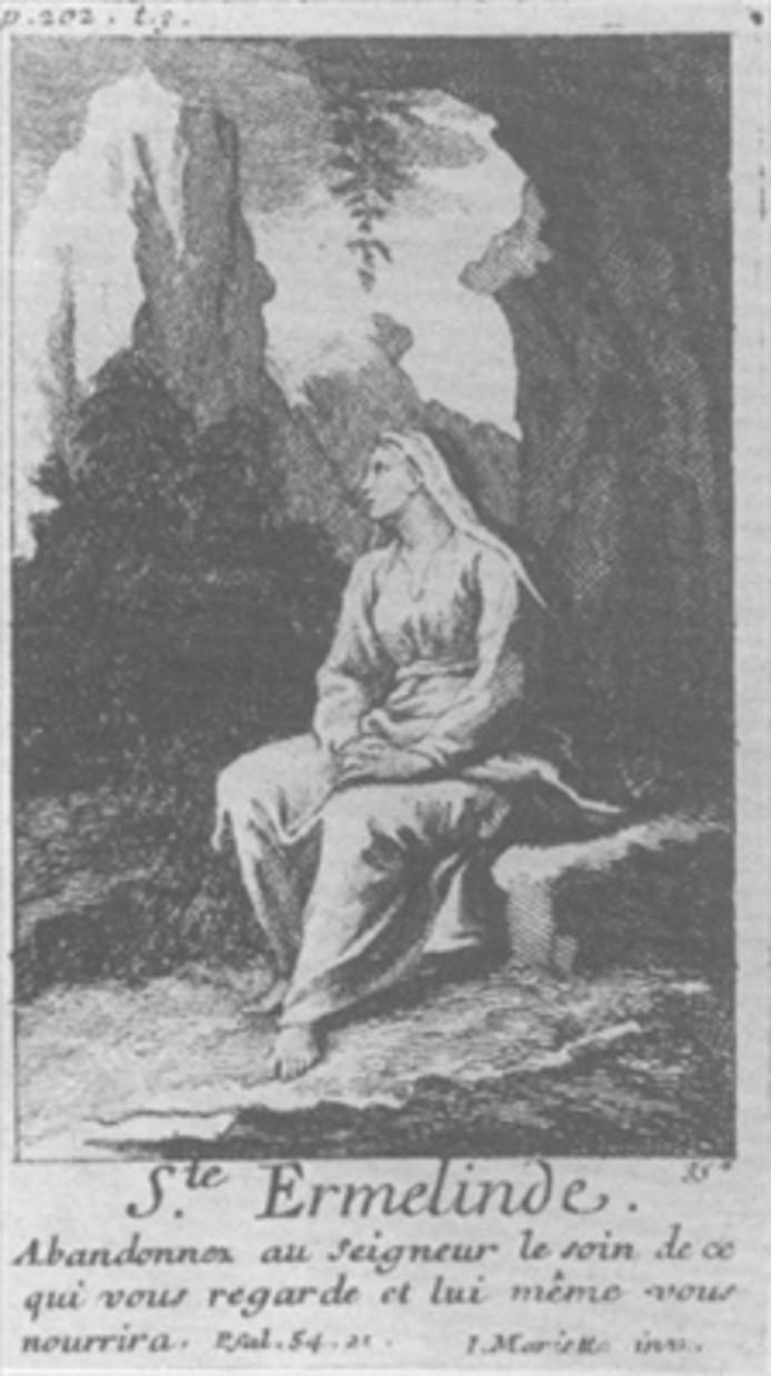 Gravure van Sint Ermelindis
