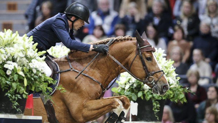 Harrie Smolders met Emerald tijdens de wereldbekerfinale in het Zweedse Gotenburg. Hij werd tweede. Beeld null