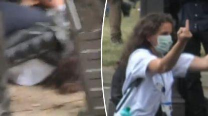 Afschuw over beelden die tonen hoe agenten frêle verpleegster tegen grond werken bij betoging in Parijs. Dit ging eraan vooraf