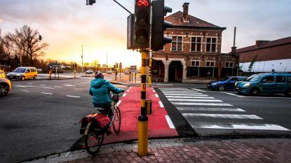 En plots staat het verkeerslicht óp het fietspad